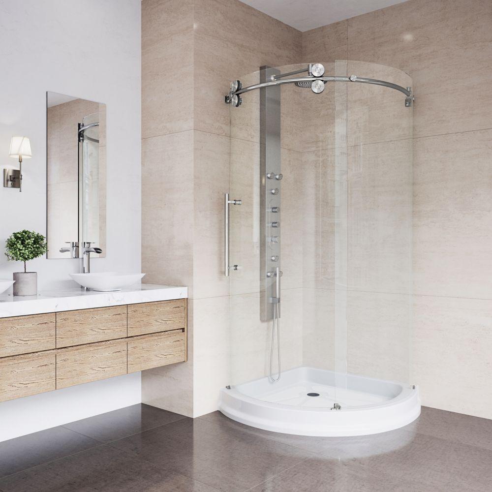 Paroi de douche ronde sans cadre, bac,transparente en inoxydable,porte à gauche,36poucesx36 pouce...