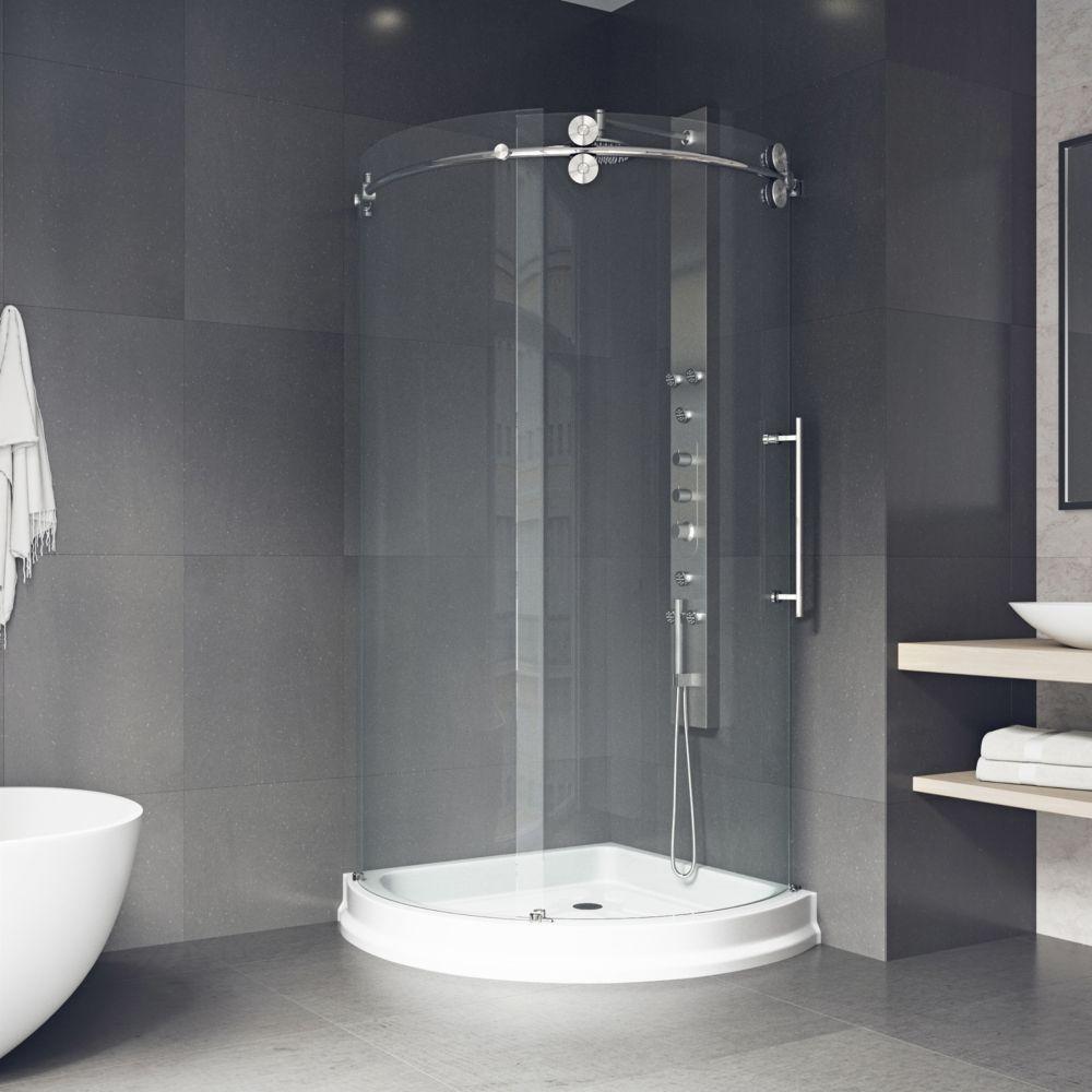 Paroi de douche ronde sans cadre, bac,transparente en inoxydable,porte à droite 36 poucesx36pouce...