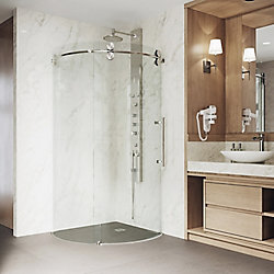 VIGO Sanibel 40.625 inch x 74.625 inch Frameless Corner Bypass Shower Enclosure in Stainless Steel with Right-Sided Opening