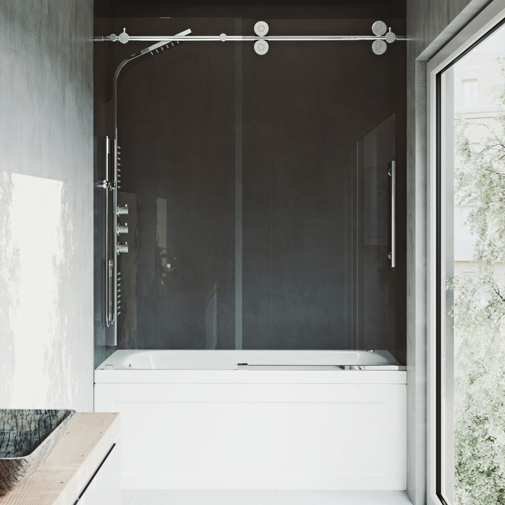 Clear and Chrome Frameless Shower Door 60 Inch 3/8 Inch glass