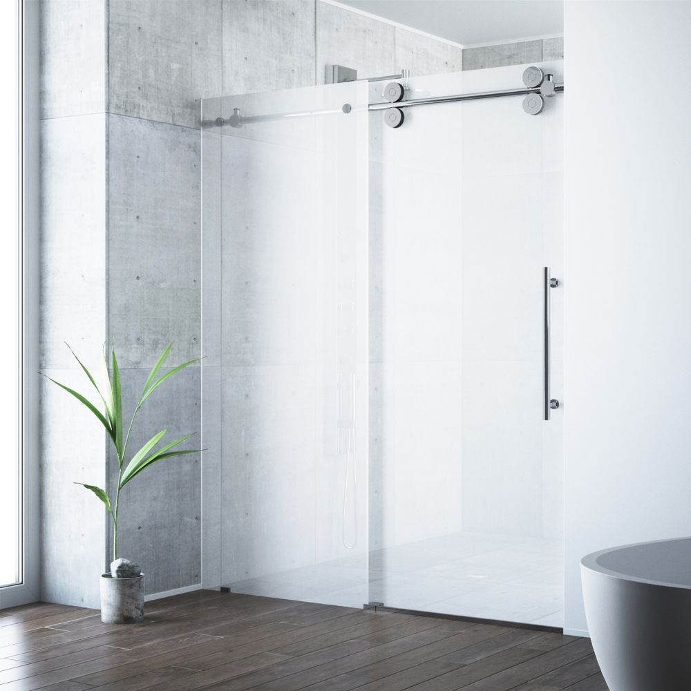 Frosted and Chrome Frameless Shower Door 60 Inch 3/8 Inch glass