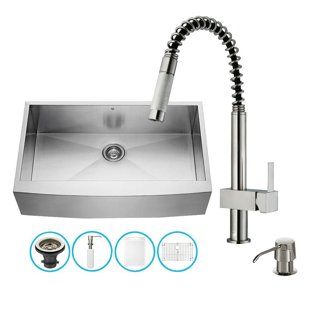 Stainless Steel All in One Farmhouse Kitchen Sink and Faucet Set 36 Inch VG15143 in Canada