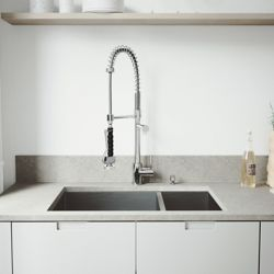 VIGO All-in-One Undermount Stainless Steel 29 inch Double Bowl Kitchen Sink in Chrome