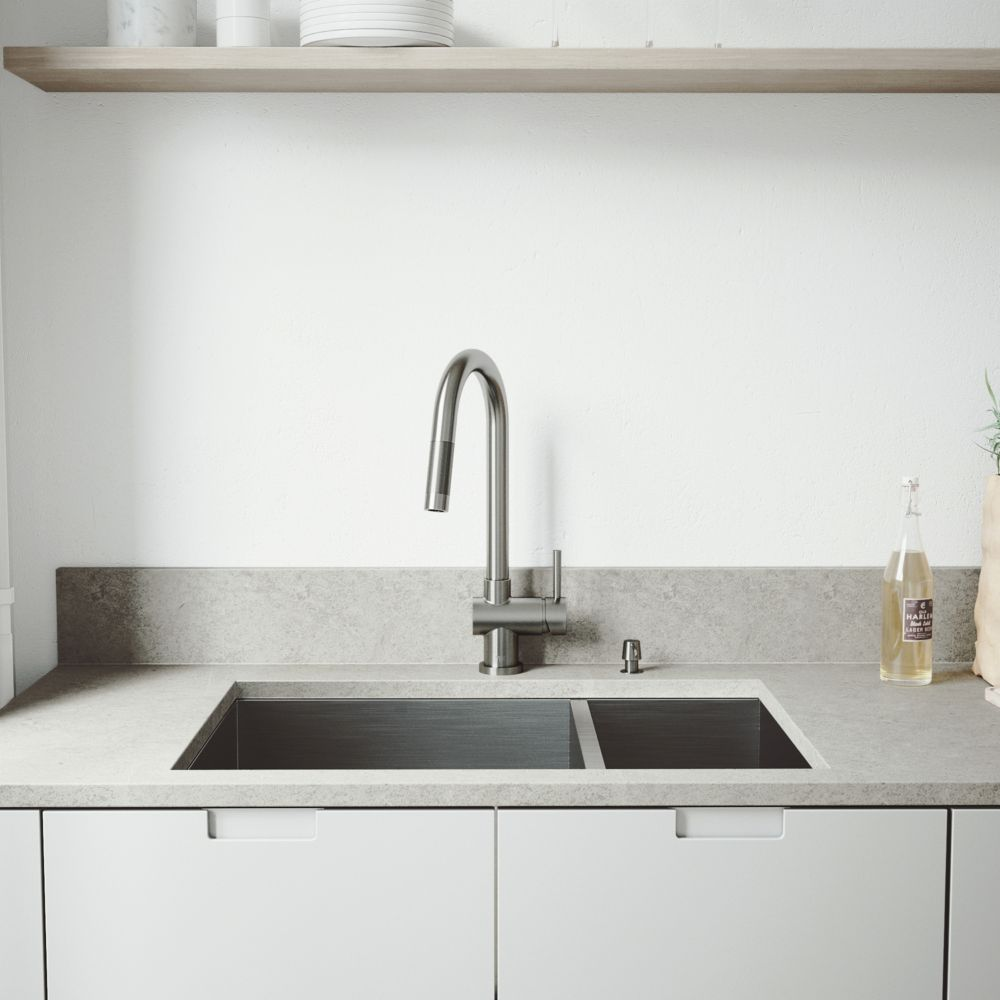 Stainless Steel All in One Undermount Double Bowl Kitchen Sink and Faucet Set 29 Inch