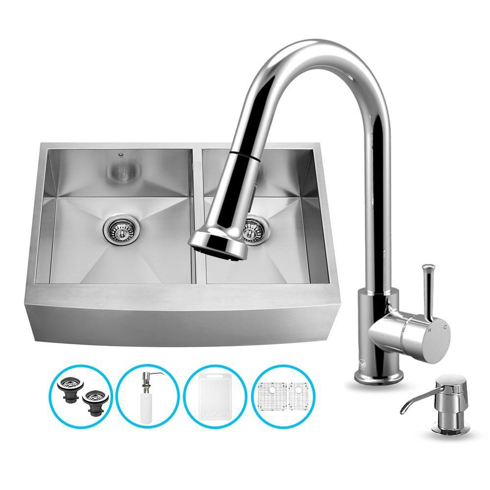 Stainless Steel All in One Farmhouse Double Bowl Kitchen Sink and Chrome Faucet Set 36 Inch