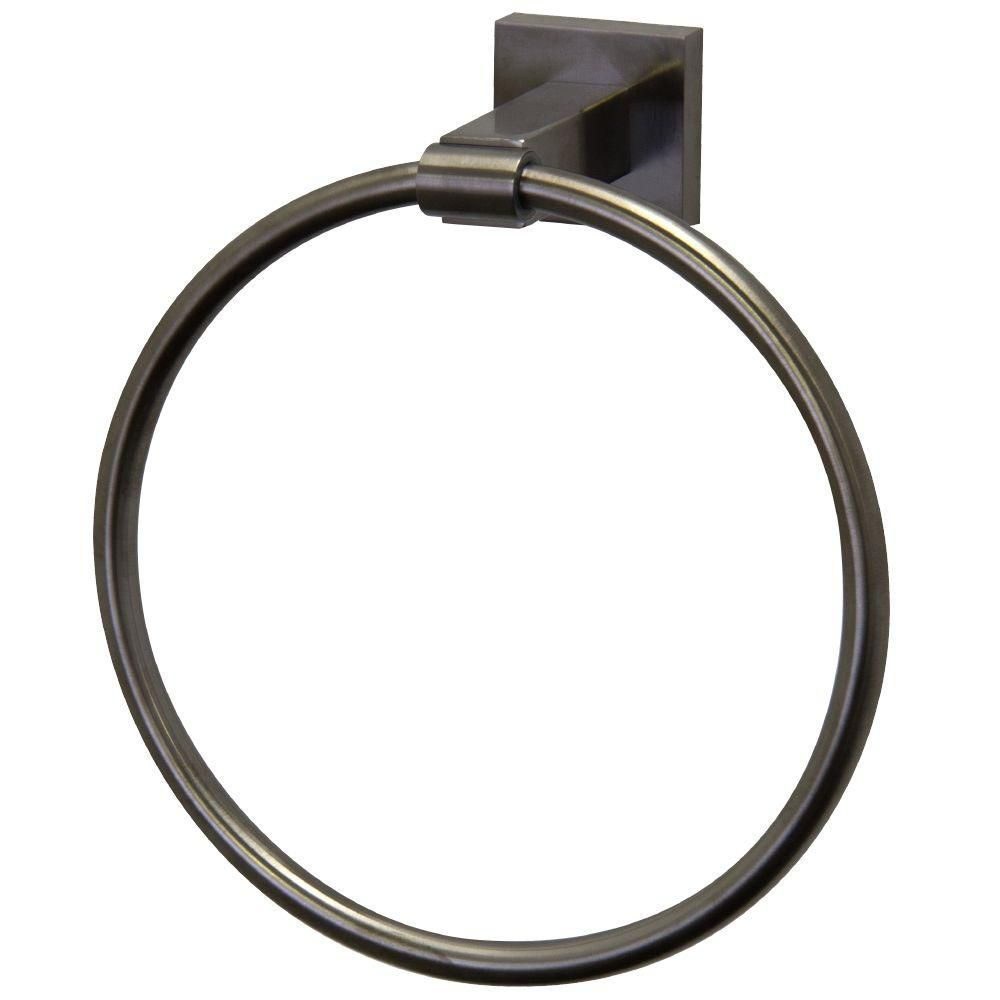 Brushed Nickel Allure Square Design Hand Towel Ring