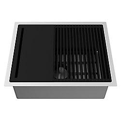 VIGO Undermount Stainless Steel 23 inch Single Bowl Kitchen Sink with Grid and Strainer