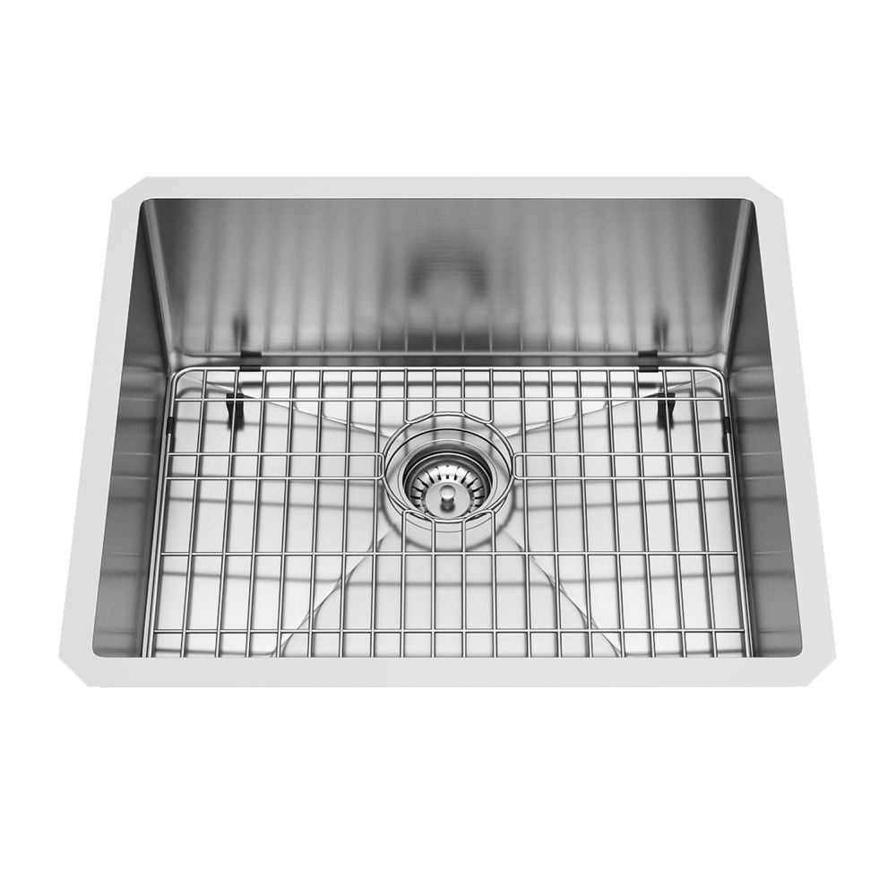 23-inch 16 GA Stainless Steel Undermount Kitchen Sink Grid and Strainer
