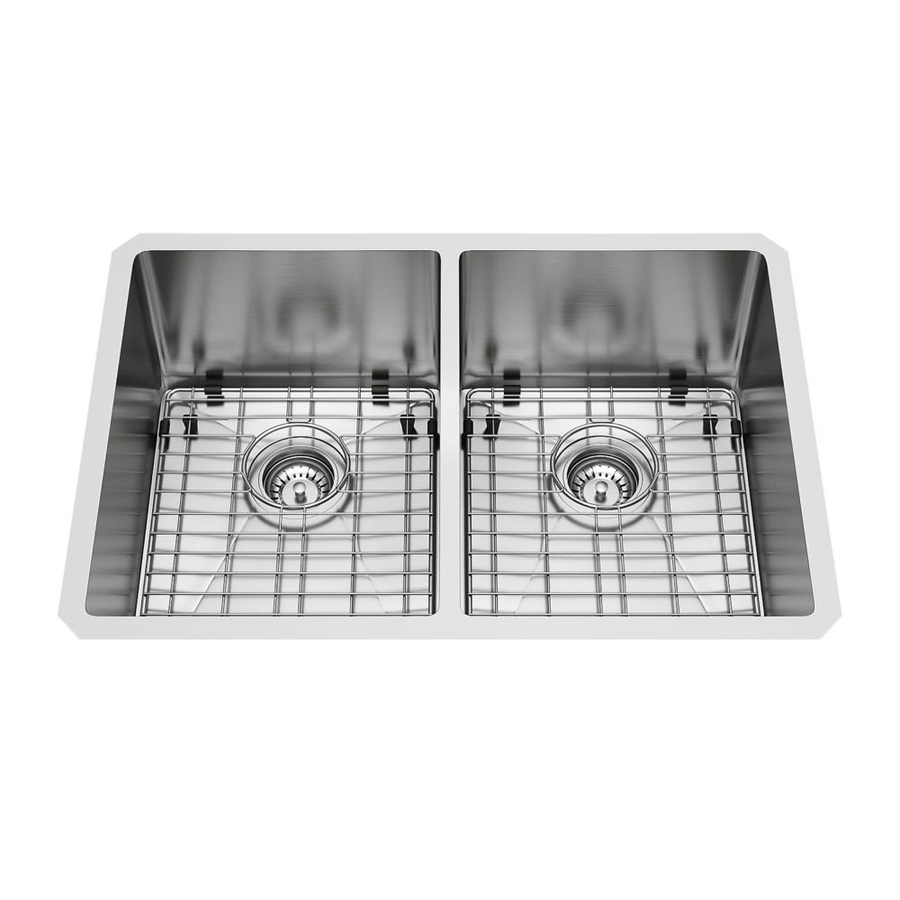 Stainless Steel Undermount Double Kitchen Sink Grids and Strainers 29 Inch 16 gauge
