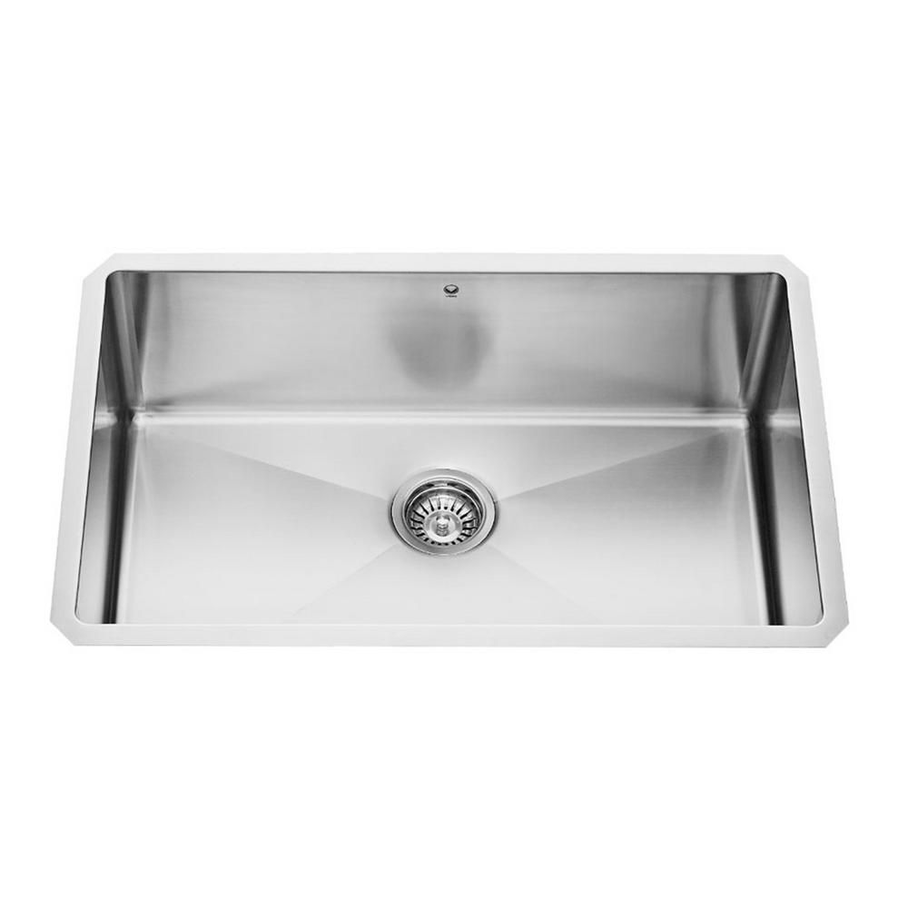 16 Gauge Stainless Steel Sink : Vigo Stainless Steel Undermount Single Bowl Sink 30 Inch 16 gauge ...