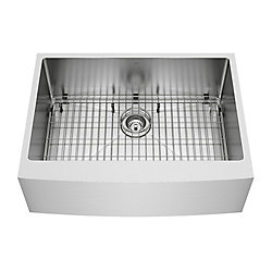VIGO Bedford Farmhouse Stainless Steel 30 inch 0-Hole Single Bowl Kitchen Sink with 1 Grid, 1 Strainer in Stainless Steel