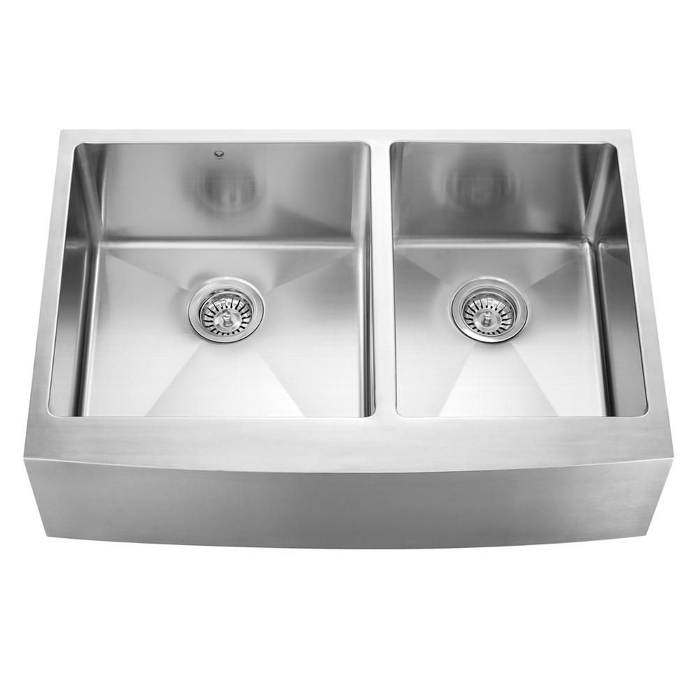 Stainless Steel Farmhouse Double Bowl Kitchen Sink 33 Inch 16 gauge