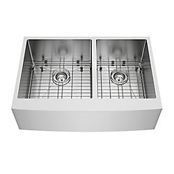 VIGO Bingham Farmhouse Stainless Steel 33 inch 60/40 Double Bowl Kitchen Sink with Grids, Strainers in Stainless Steel