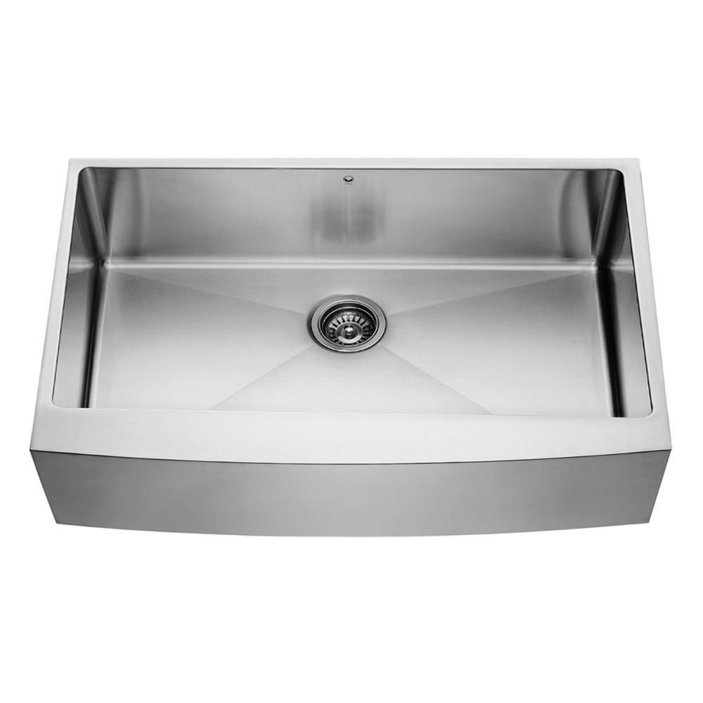 Farmhouse Stainless Steel Kitchen Sink : Vigo Stainless Steel Farmhouse Single Bowl Kitchen Sink 36 Inch 16 ...