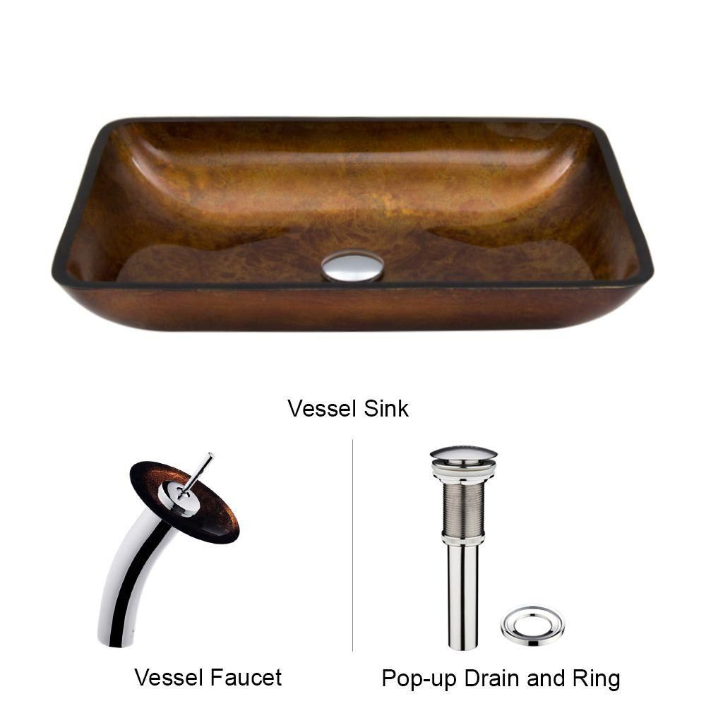 Vigo Glass Vessel Sink in Rectangular Russet with Waterfall Faucet in Chrome