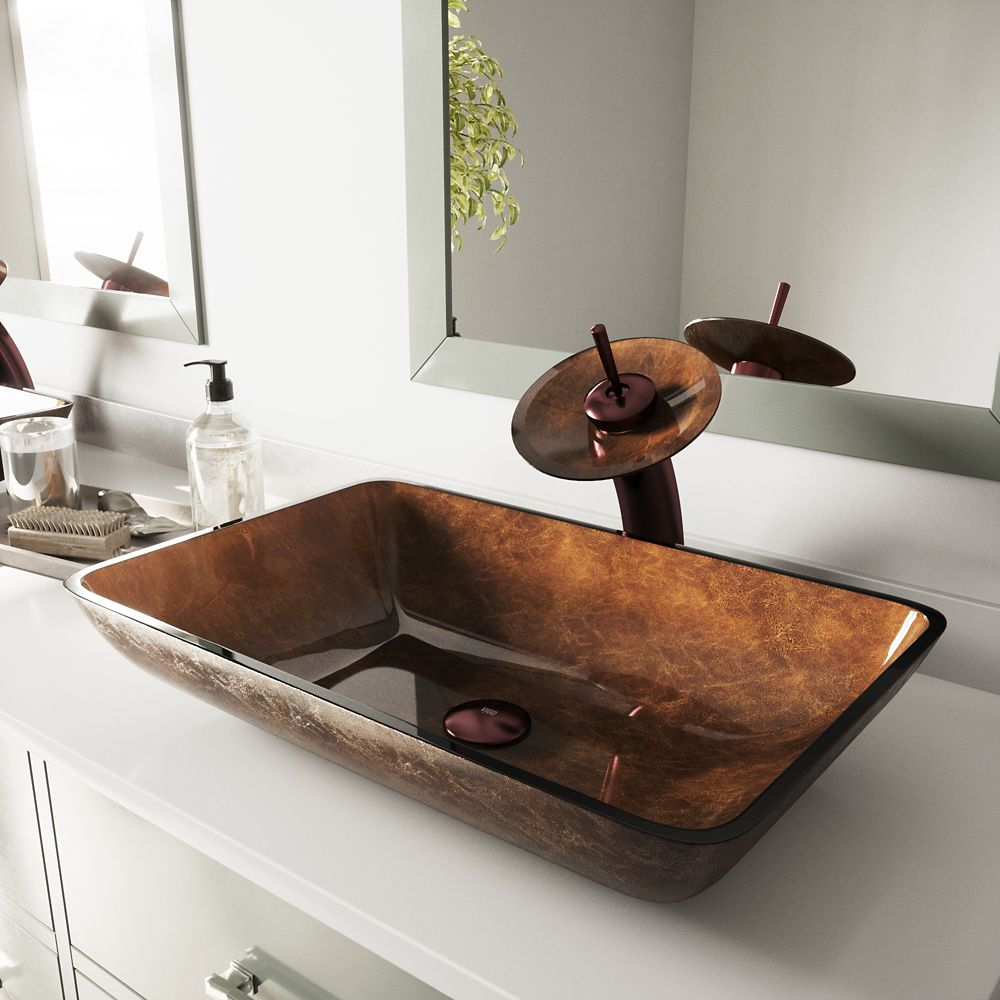 Glass Vessel Sink in Rectangular Russet with Waterfall Faucet in Oil-Rubbed Bronze