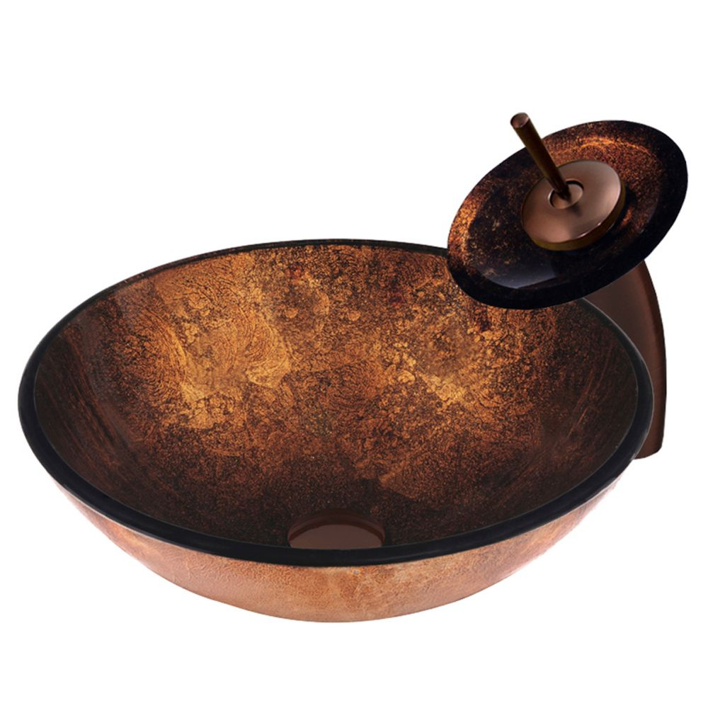 Glass Vessel Sink in Russet with Waterfall Faucet in Oil-Rubbed Bronze