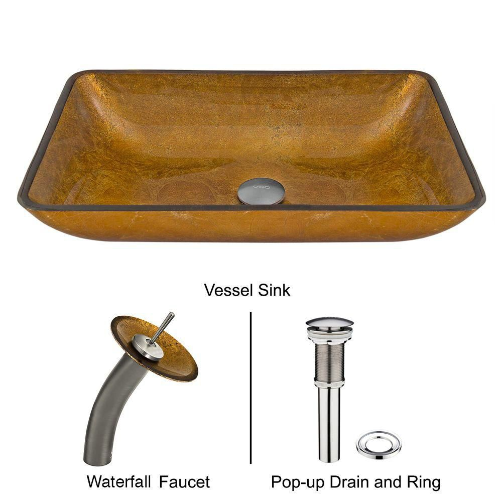 Glass Vessel Sink in Rectangular Copper with Waterfall Faucet in Brushed Nickel