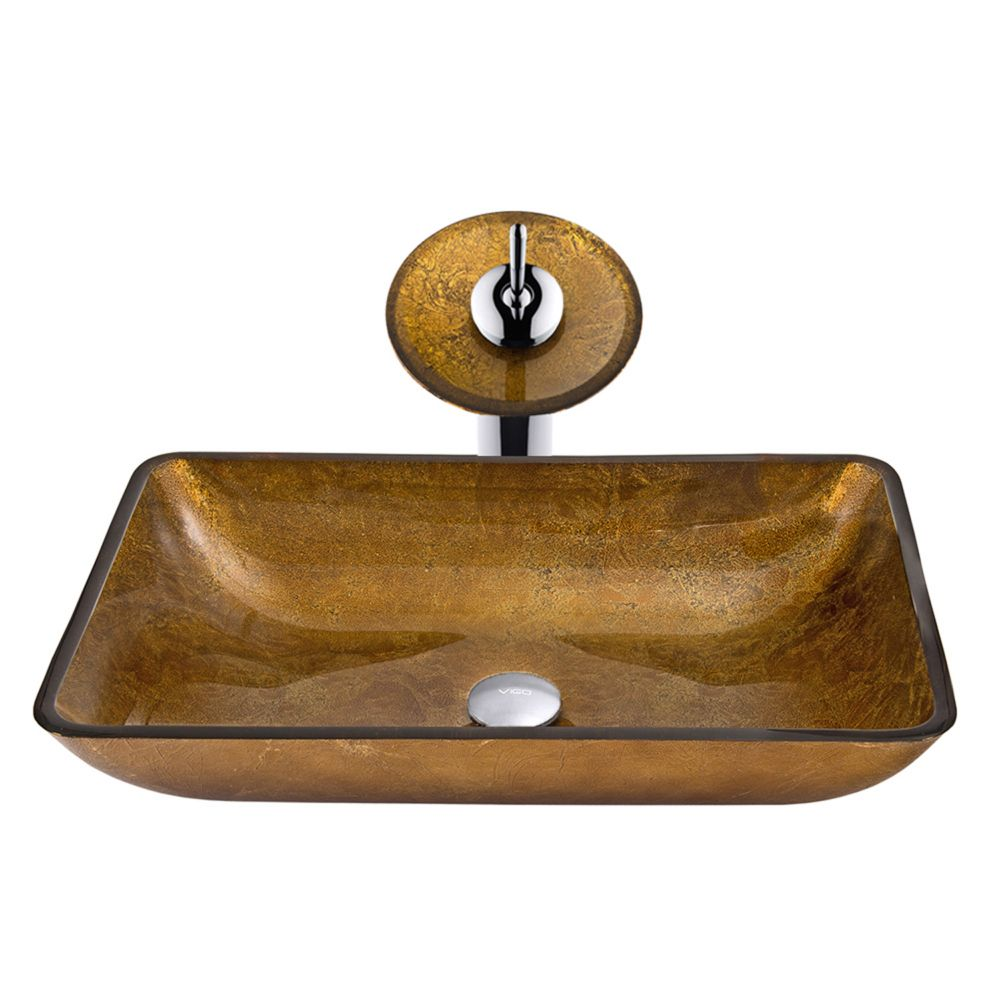 Glass Vessel Sink in Rectangular Copper with Waterfall Faucet in Chrome