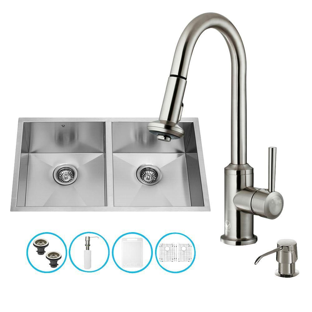 Stainless Steel All in One Undermount Double Bowl Kitchen Sink and Faucet Set 32 Inch