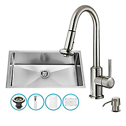 VIGO Stainless Steel All in One Undermount Kitchen Sink and Faucet Set 32 Inch