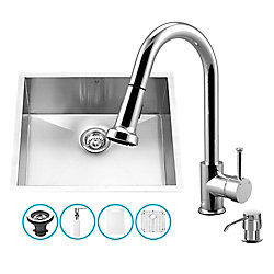 VIGO Stainless Steel All in One Undermount Kitchen Sink and Chrome Faucet Set 23 Inch