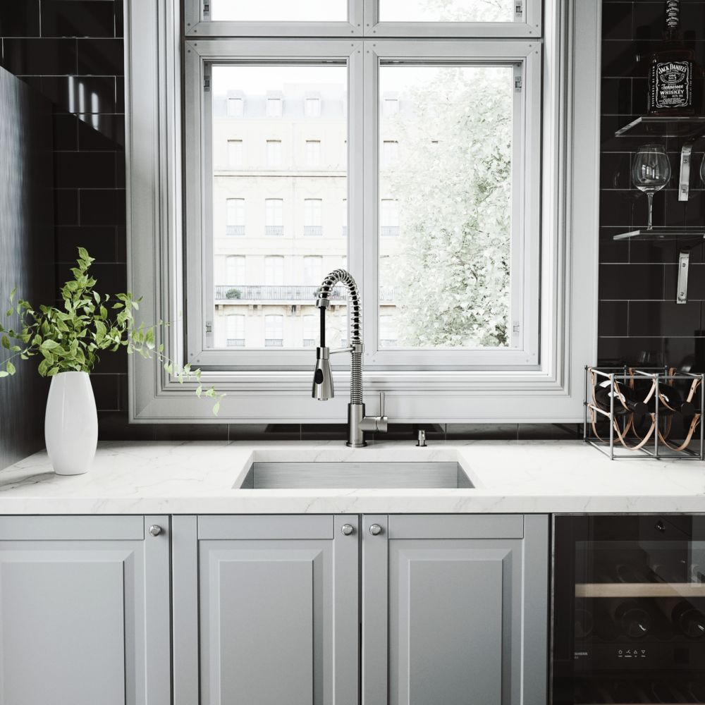 Stainless Steel All in One Undermount Kitchen Sink and Faucet Set 23 Inch