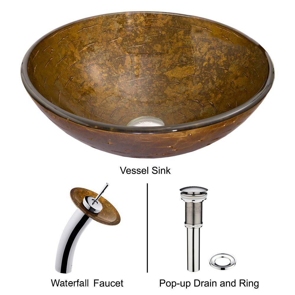 Glass Vessel Sink in Textured Copper with Waterfall Faucet in Chrome