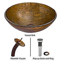 VIGO Glass Vessel Bathroom Sink in Textured Copper with Waterfall Faucet Set in Oil Rubbed Bronze