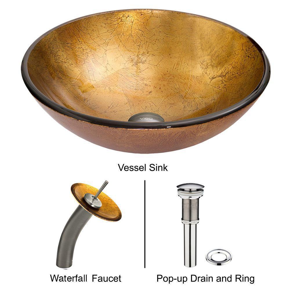 Ensemble Liquid Gold Lavabo en verre et robinet à cascade en nickel brossé