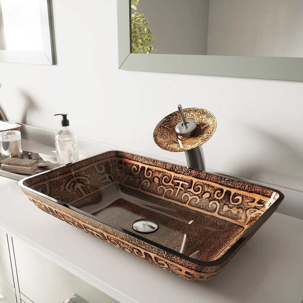Ensemble Rectangular Golden Greek Lavabo en verre et robinet à cascade en nickel brossé