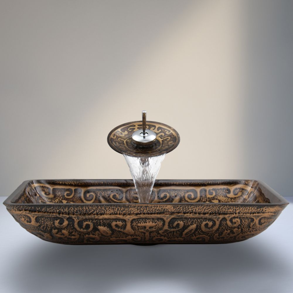 Glass Vessel Sink in Rectangular Golden Greek with Waterfall Faucet in Chrome