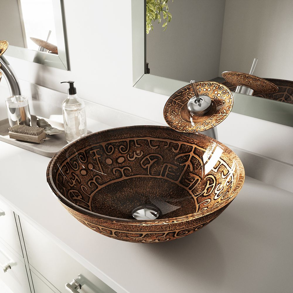 Glass Vessel Sink in Golden Greek with Waterfall Faucet in Chrome