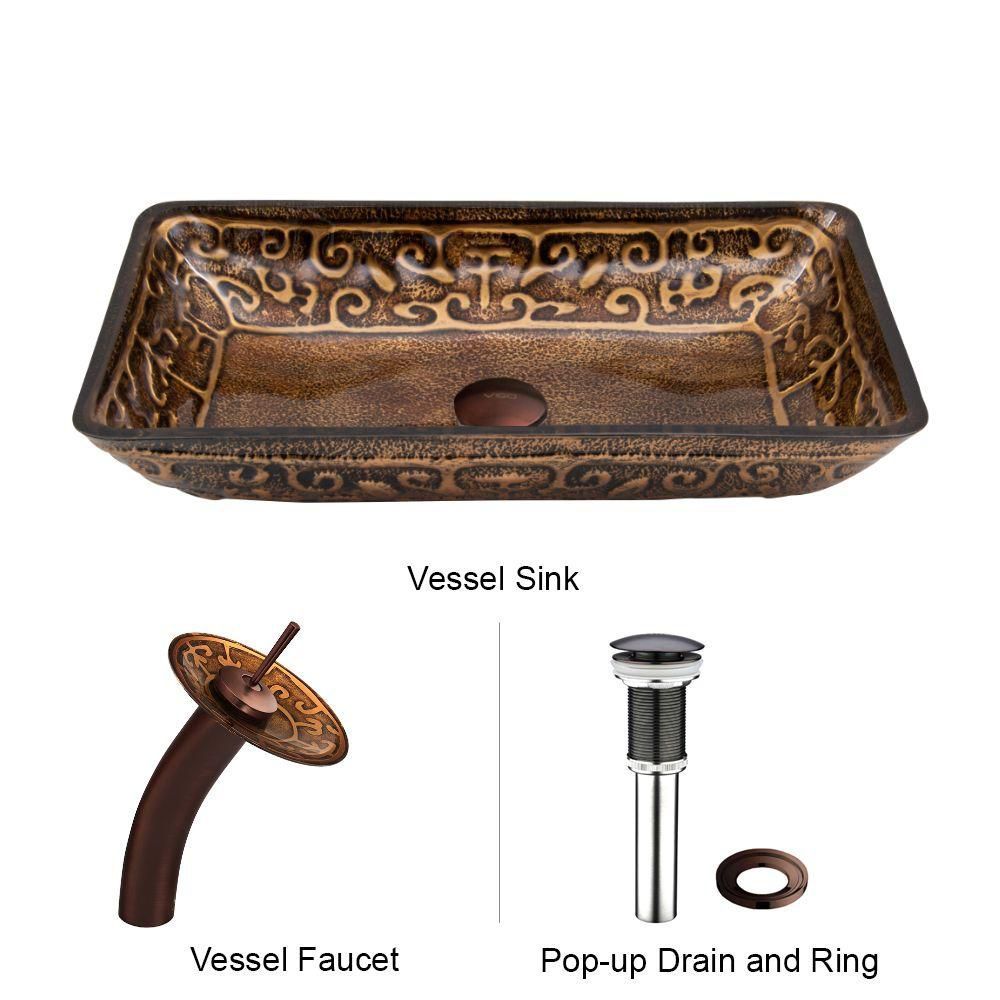 Vigo Glass Vessel Sink in Rectangular Golden Greek with Waterfall Faucet in Oil-Rubbed Bronze