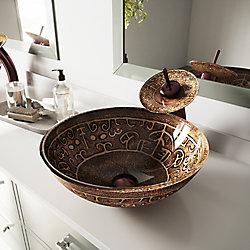 VIGO Golden Greek Vessel Bathroom Sink in Brown with Waterfall Faucet in Oil Rubbed Bronze