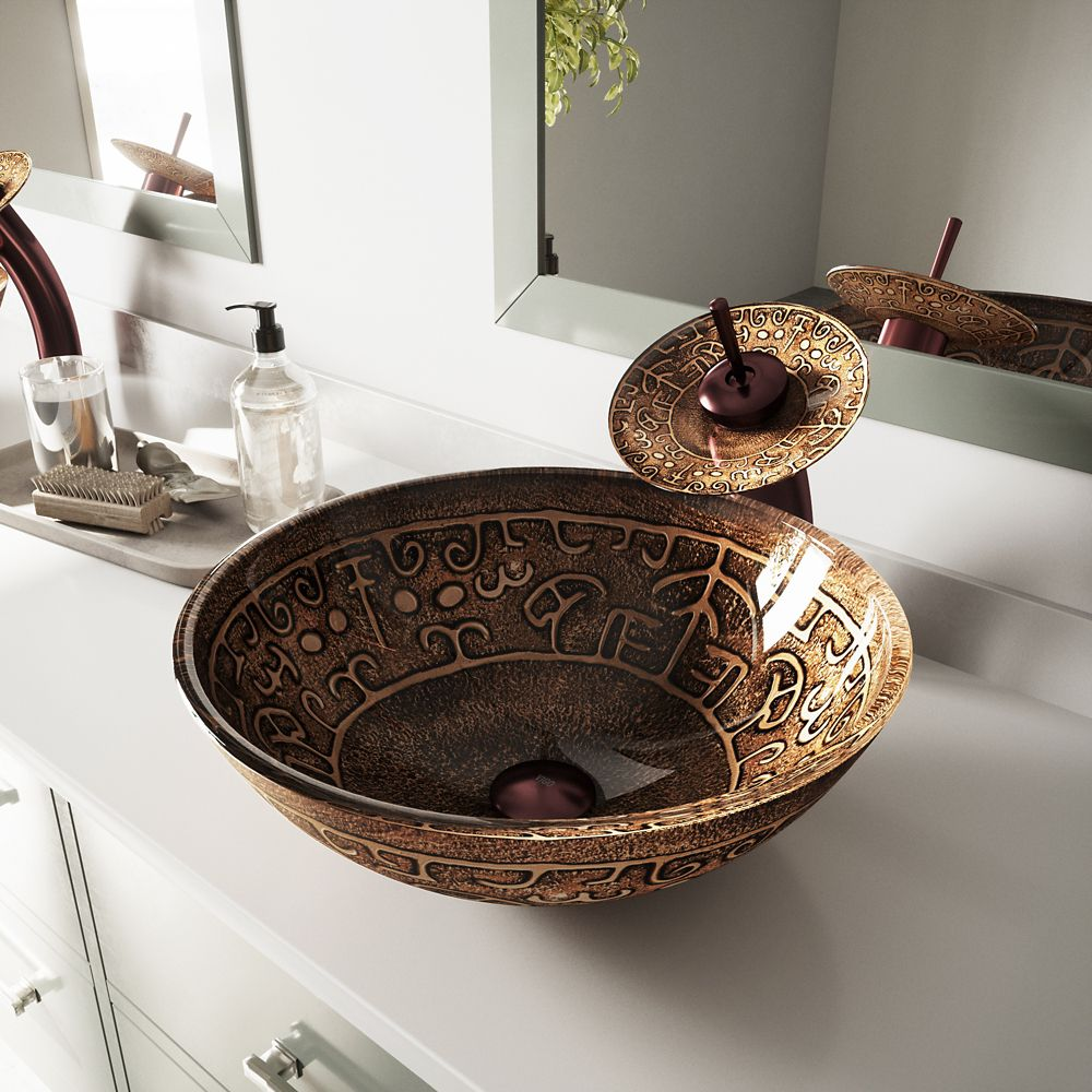 Glass Vessel Sink in Golden Greek with Waterfall Faucet in Oil-Rubbed Bronze