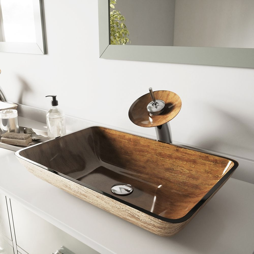 Glass Vessel Sink in Rectangular Amber Sunset with Waterfall Faucet in Chrome