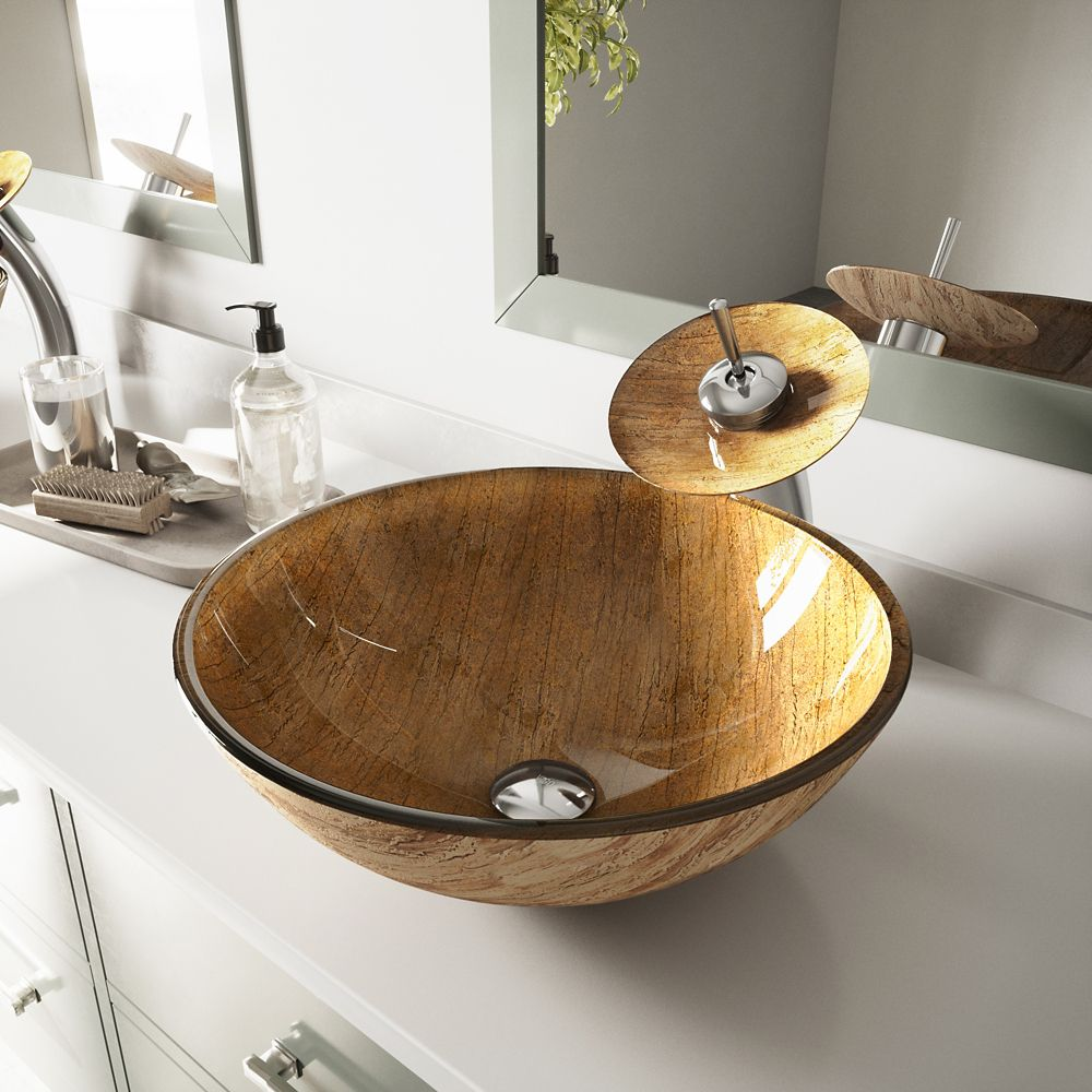 Vigo Glass Vessel Sink in Amber Sunset with Waterfall Faucet in Chrome