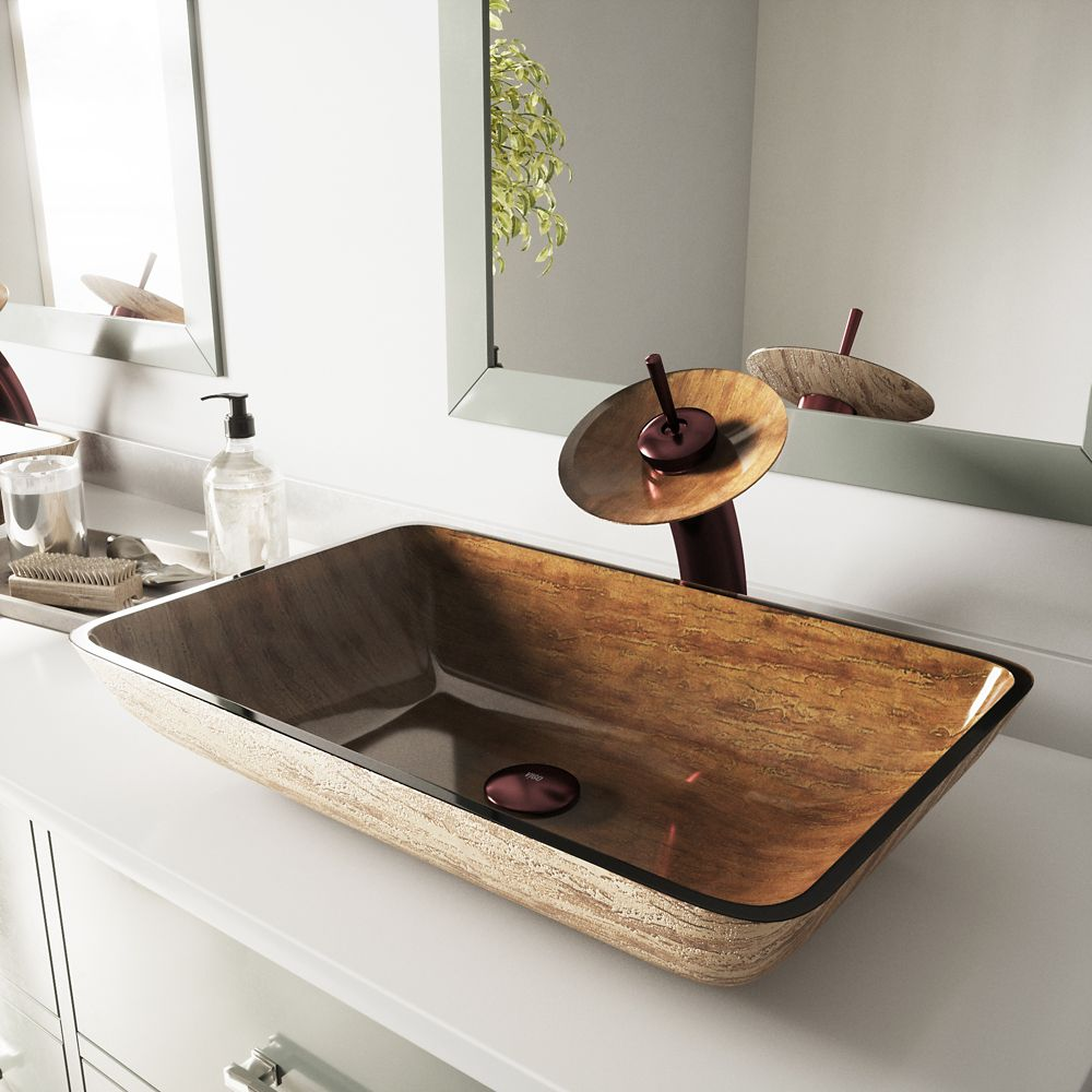 Glass Vessel Sink in Rectangular Amber Sunset with Waterfall Faucet in Oil-Rubbed Bronze