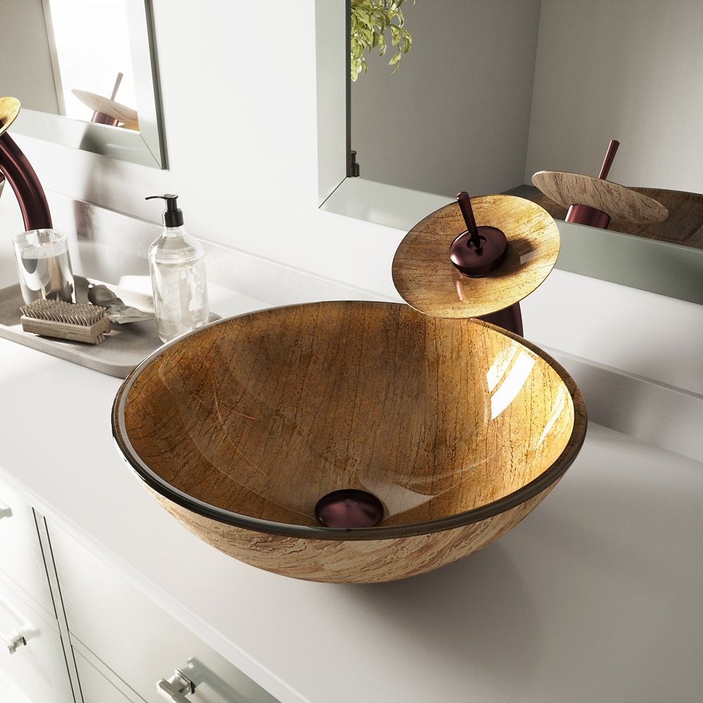 Glass Vessel Sink in Amber Sunset with Waterfall Faucet in Oil-Rubbed Bronze