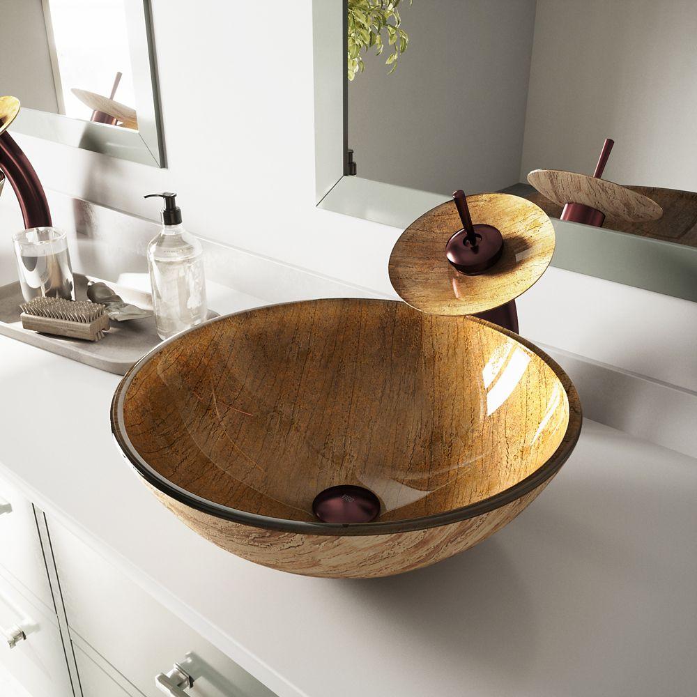 Ensemble  Amber Sunset Lavabo en verre et robinet à cascade en bronze huilé