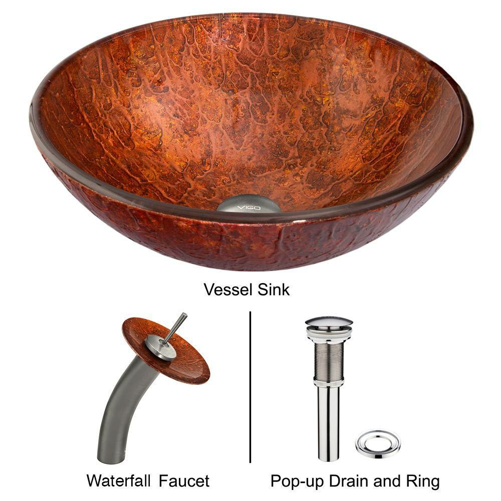 Glass Vessel Sink in Mahogany Moon with Waterfall Faucet in Brushed Nickel
