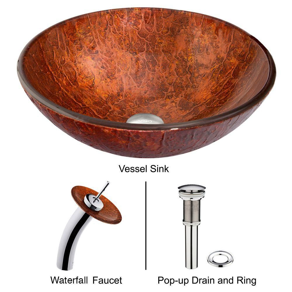 Glass Vessel Sink in Mahogany Moon with Waterfall Faucet in Chrome