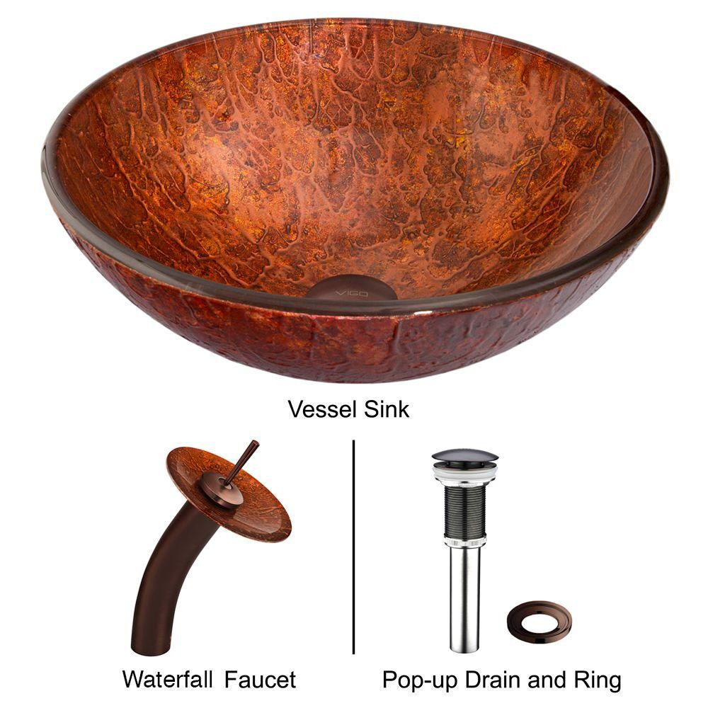 Glass Vessel Sink in Mahogany Moon with Waterfall Faucet in Oil-Rubbed Bronze