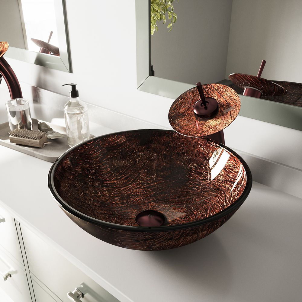 Glass Vessel Sink in Kenyan Twilight with Waterfall Faucet in Oil-Rubbed Bronze