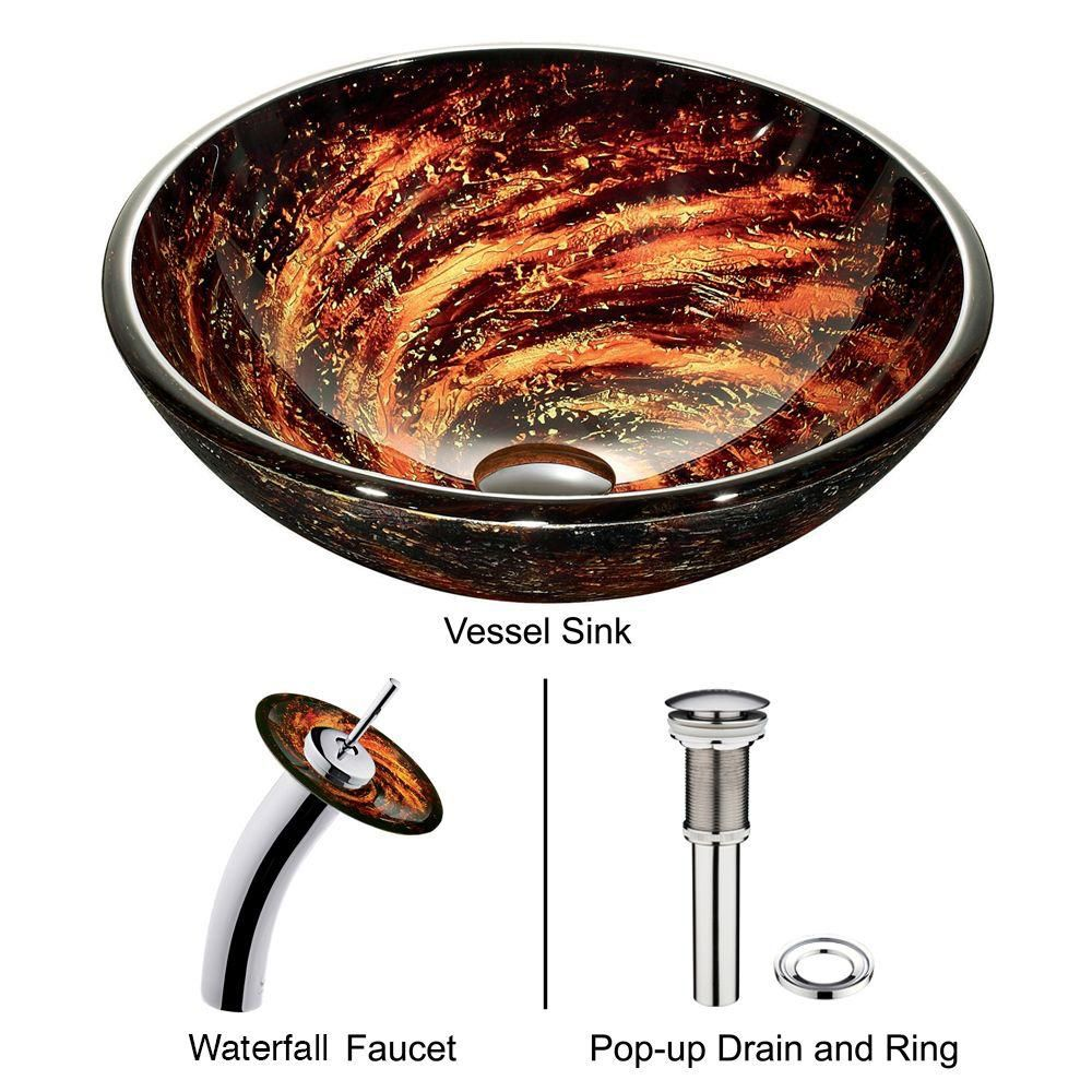 Glass Vessel Sink in Northern Lights with Waterfall Faucet in Chrome