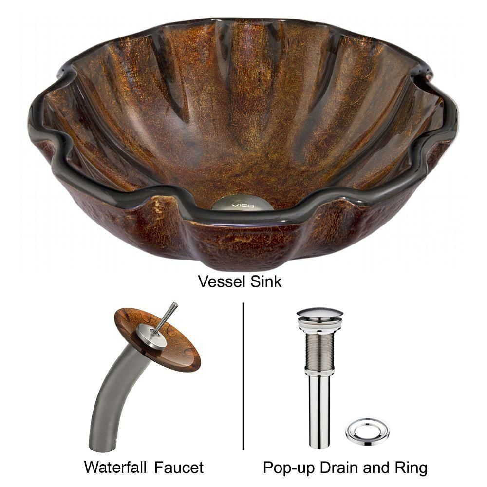Glass Vessel Sink in Walnut Shell with Waterfall Faucet in Brushed Nickel