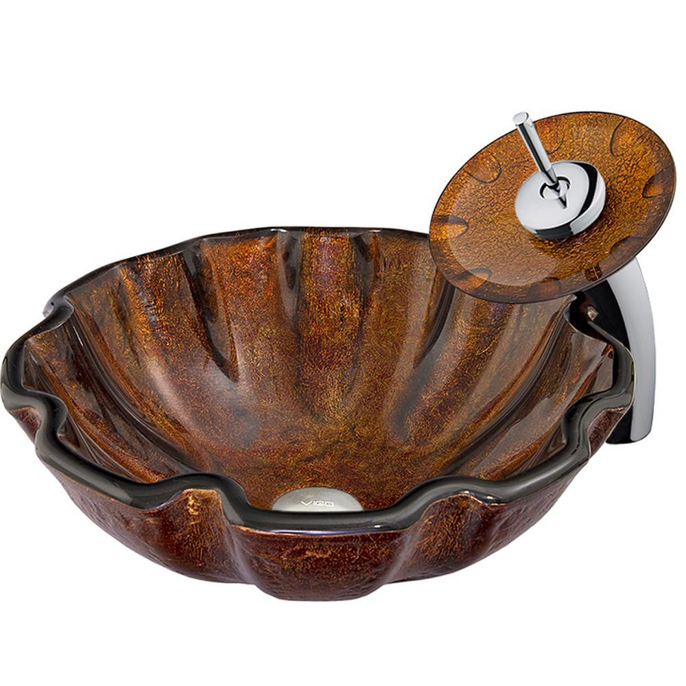 Glass Vessel Sink in Walnut Shell with Waterfall Faucet in Chrome