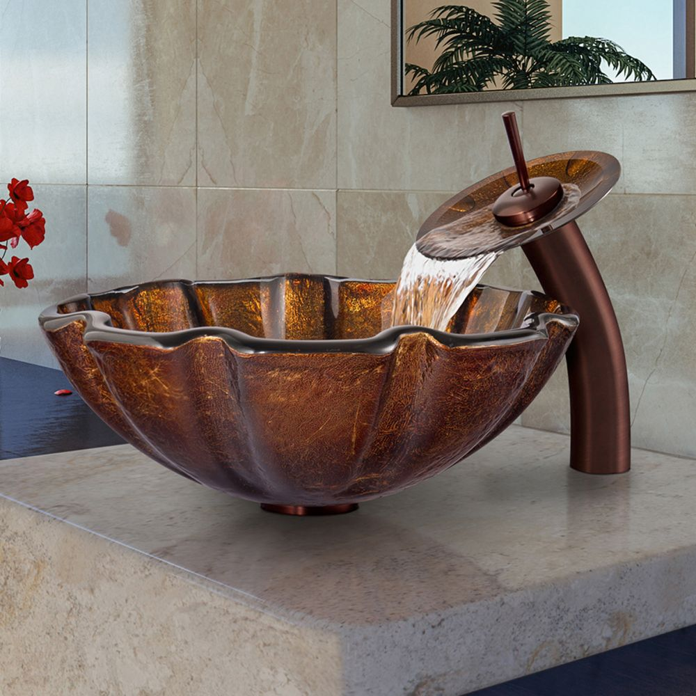 Glass Vessel Sink in Walnut Shell with Waterfall Faucet in Oil-Rubbed Bronze
