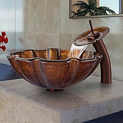 VIGO Glass Vessel Bathroom Sink in Walnut Shell with Waterfall Faucet Set in Oil Rubbed Bronze